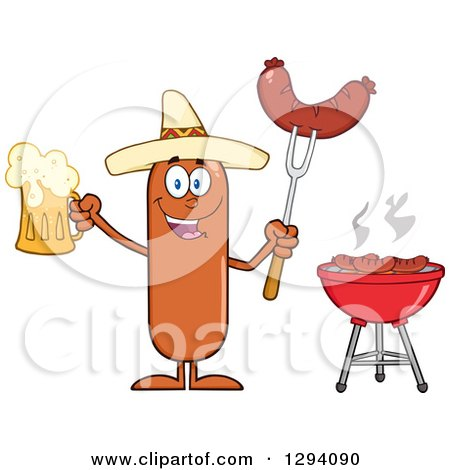 Clipart of a Cartoon Happy Mexican Sausage Character Holding a Beer and Meat on a Bbq Fork by a Grill - Royalty Free Vector Illustration by Hit Toon