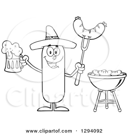 Clipart of a Cartoon Black and White Happy Mexican Sausage Character Holding a Beer and Meat on a Bbq Fork by a Grill - Royalty Free Vector Illustration by Hit Toon