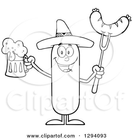 Clipart of a Cartoon Black and White Happy Mexican Sausage Character Holding a Beer and Meat on a Bbq Fork - Royalty Free Vector Illustration by Hit Toon