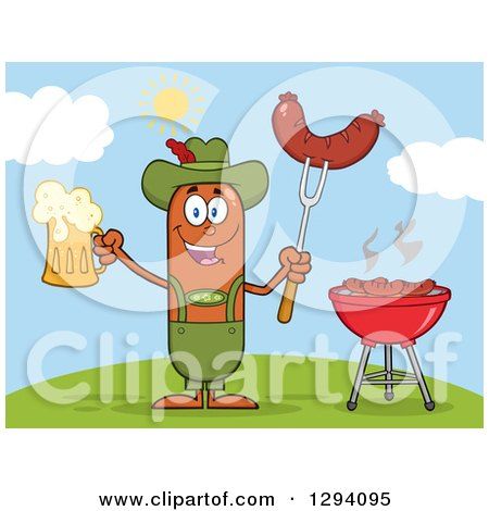 Clipart of a Cartoon Happy Sausage German Oktoberfest Character Holding a Beer and Meat on a Bbq Fork by a Grill on a Hill - Royalty Free Vector Illustration by Hit Toon