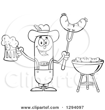 Clipart of a Cartoon Black and White Happy Sausage German Oktoberfest Character Holding a Beer and Meat on a Bbq Fork by a Grill - Royalty Free Vector Illustration by Hit Toon