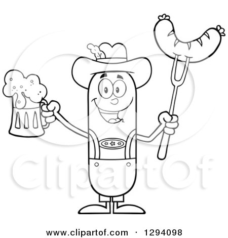 Clipart of a Cartoon Black and White Happy Sausage German Oktoberfest Character Holding a Beer and Meat on a Bbq Fork - Royalty Free Vector Illustration by Hit Toon