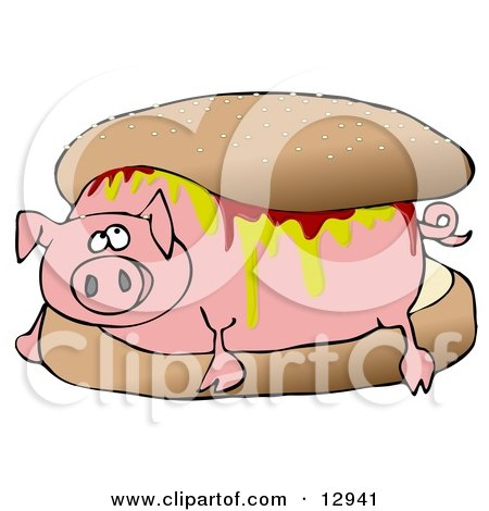 Relaxed Pig Covered in Mustard and Ketchup, Lying in a Hamburger Bun Clipart Illustration by Dennis Cox