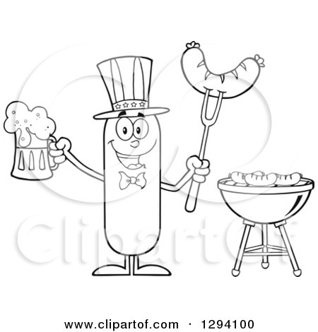 Clipart of a Cartoon Black and White Happy American Sausage Character Holding a Beer and Meat on a Bbq Fork by a Grill - Royalty Free Vector Illustration by Hit Toon