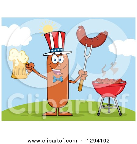 Clipart of a Cartoon Happy American Sausage Character Holding a Beer and Meat on a Bbq Fork by a Grill on a Hill - Royalty Free Vector Illustration by Hit Toon