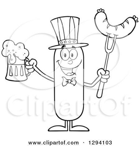 Clipart of a Cartoon Black and White Happy American Sausage Character Holding a Beer and Meat on a Bbq Fork - Royalty Free Vector Illustration by Hit Toon