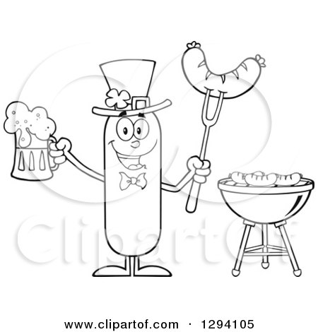 Clipart of a Cartoon Black and White St Patricks Day Leprechaun Sausage Character Holding a Beer and Meat on a Bbq Fork by a Grill - Royalty Free Vector Illustration by Hit Toon