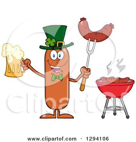 Clipart of a Cartoon St Patricks Day Leprechaun Sausage Character Holding a Beer and Meat on a Bbq Fork by a Grill - Royalty Free Vector Illustration by Hit Toon