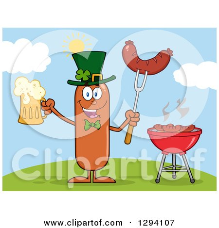 Clipart of a Cartoon St Patricks Day Leprechaun Sausage Character Holding a Beer and Meat on a Bbq Fork by a Grill on a Hill - Royalty Free Vector Illustration by Hit Toon