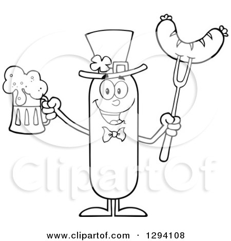 Clipart of a Cartoon Black and White St Patricks Day Leprechaun Sausage Character Holding a Beer and Meat on a Bbq Fork - Royalty Free Vector Illustration by Hit Toon