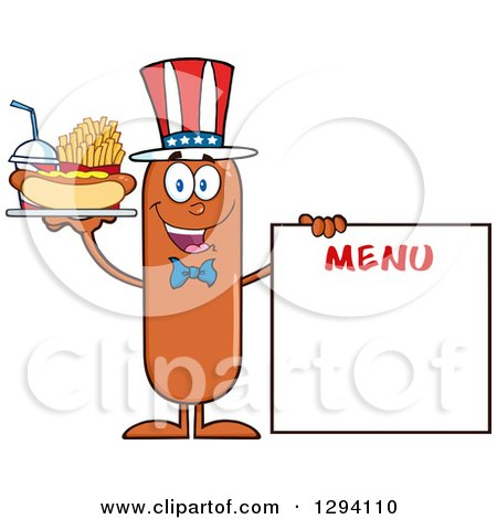 Clipart of a Cartoon Happy American Sausage Character with a Hot Dog, Fries and Soda by a Menu Board - Royalty Free Vector Illustration by Hit Toon