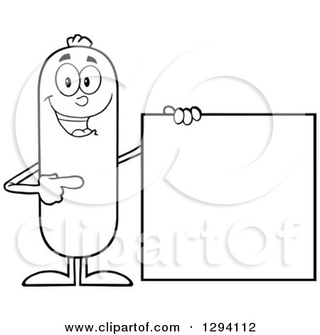 Clipart of a Cartoon Black and White Happy Sausage Character Standing by and Pointing to a Blank Sign - Royalty Free Vector Illustration by Hit Toon