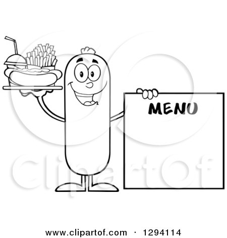 Clipart of a Cartoon Black and White Happy Sausage Character with a Hot Dog, Fries and Soda by a Menu Board - Royalty Free Vector Illustration by Hit Toon