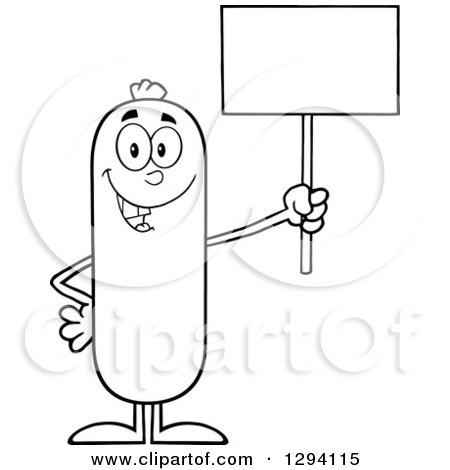 Clipart of a Cartoon Black and White Happy Sausage Character Holding up a Blank Sign - Royalty Free Vector Illustration by Hit Toon