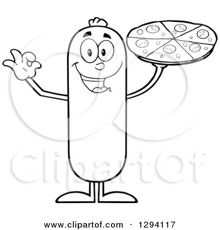Clipart of a Cartoon Black and White Happy Sausage Character Holding up a Pizza - Royalty Free Vector Illustration by Hit Toon