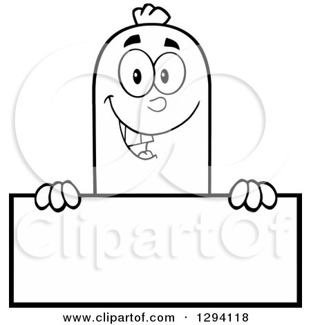 Clipart of a Cartoon Black and White Happy Sausage Character over a Blank Sign - Royalty Free Vector Illustration by Hit Toon