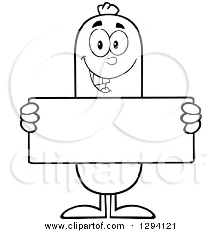 Clipart of a Cartoon Black and White Happy Sausage Character Holding a Blank Sign - Royalty Free Vector Illustration by Hit Toon