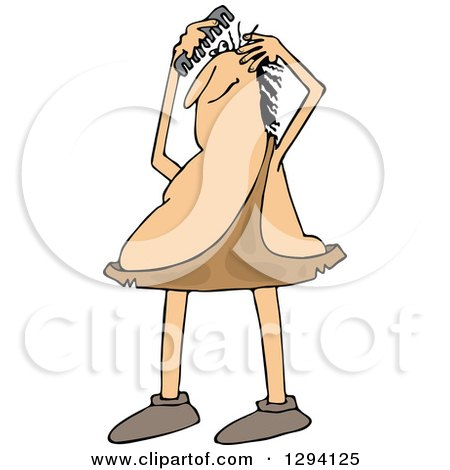 Clipart of a Chubby Caveman Combing His Hair - Royalty Free Vector Illustration by djart