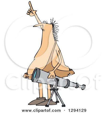 Clipart of a Chubby Caveman Pointing at the Sky and Standing by a Telescope - Royalty Free Vector Illustration by djart