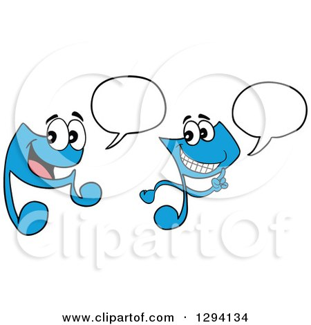 Clipart of Cartoon Happy Blue Music Notes Talking or Singing - Royalty Free Vector Illustration by LaffToon
