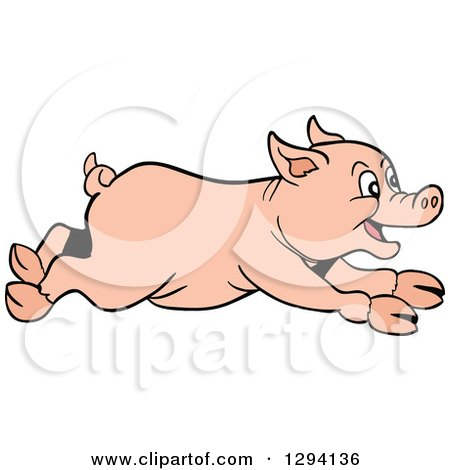 Clipart of a Cartoon Happy Pig Running to the Right - Royalty Free Vector Illustration by LaffToon