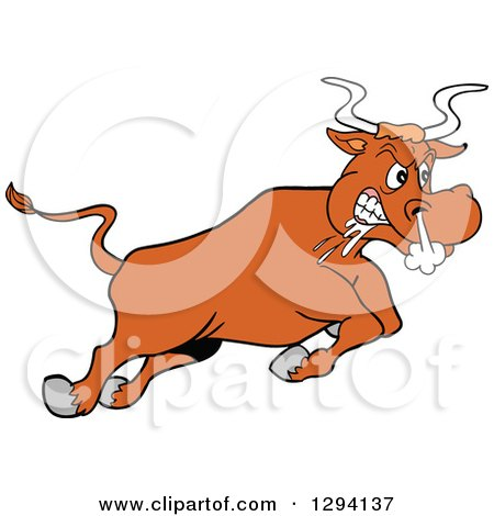 Clipart of a Cartoon Angry Bull Steer Drooling and Charging - Royalty Free Vector Illustration by LaffToon