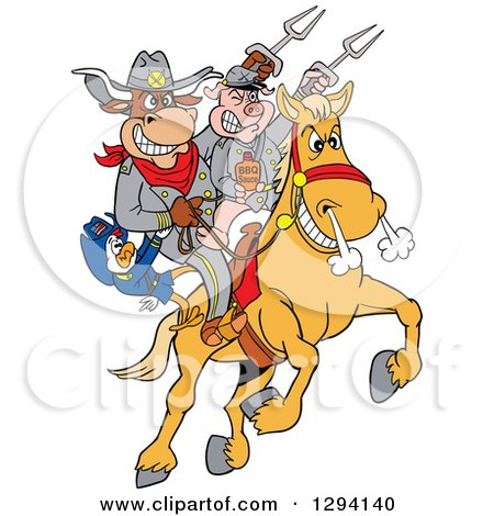 Clipart of a Cartoon Chicken, Bull and Pig Civil War Soldiers Riding a Horse with Bbq Sauce - Royalty Free Vector Illustration by LaffToon