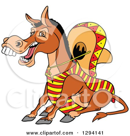 Clipart of a Cartoon Happy Mexican Donkey Sitting and Laughing - Royalty Free Vector Illustration by LaffToon