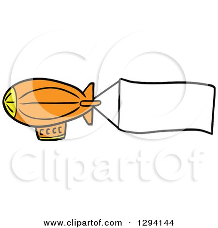 Clipart of a Cartoon Orange Blimp with a Blank Aerial Banner - Royalty Free Vector Illustration by LaffToon