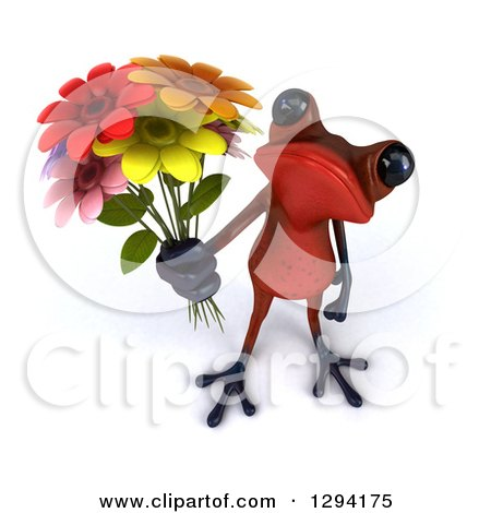 Clipart of a 3d Red Springer Frog Holding up a Bouquet of Flowers - Royalty Free Illustration by Julos