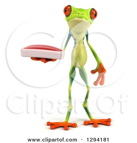 Clipart of a 3d Argie Frog Holding a Beef Steak - Royalty Free Illustration by Julos
