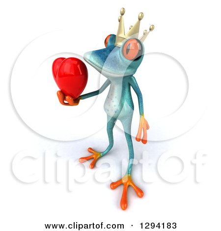 Clipart of a 3d Turquoise Frog Prince Facing Left and Holding out a Love Heart - Royalty Free Illustration by Julos