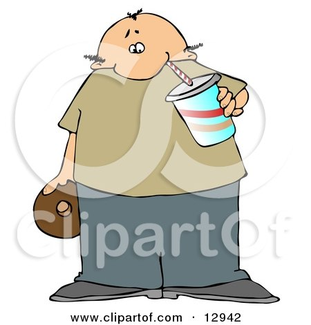Chubby Balding Man Drinking Soda and Eating a Chocolate Donut Clipart Illustration by djart
