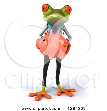 Clipart of a 3d Green Doctor Springer Frog Holding a Piggy Bank - Royalty Free Illustration by Julos