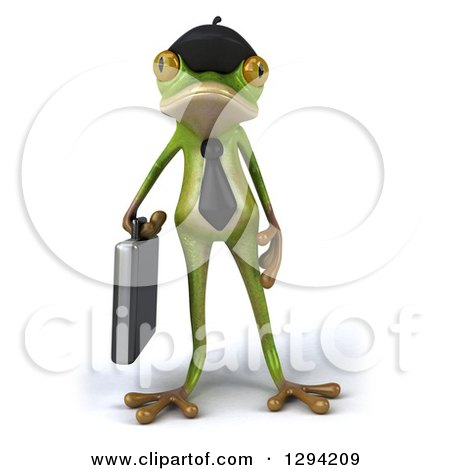 Clipart of a 3d French Business Frog with a Briefcase - Royalty Free Illustration by Julos
