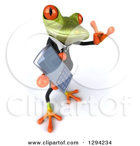 Clipart of a 3d Green Business Springer Frog Looking Up, Facing Right, Holding a Cell Phone and Gesturing Call Me - Royalty Free Illustration by Julos