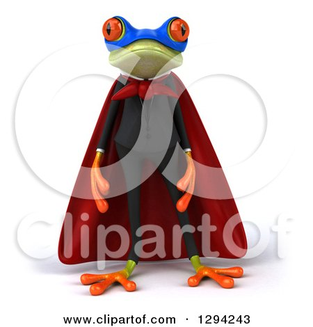 Clipart of a 3d Green Super Hero Business Springer Frog - Royalty Free Illustration by Julos