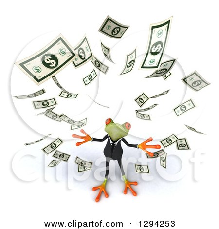 Clipart of a 3d Green Business Springer Frog Looking up and Making It Rain Cash Money - Royalty Free Illustration by Julos
