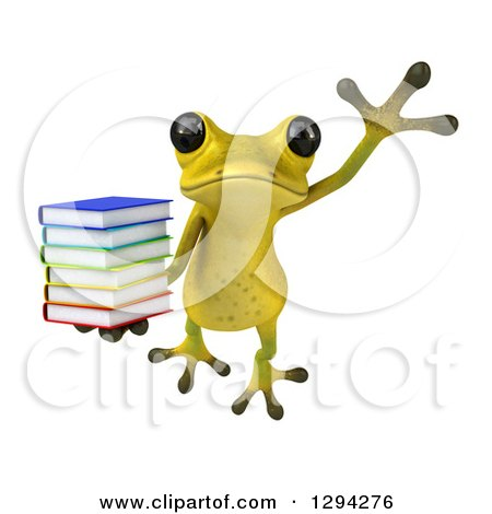 Clipart of a 3d Light Green Springer Frog Leaping with a Stack of Books - Royalty Free Illustration by Julos