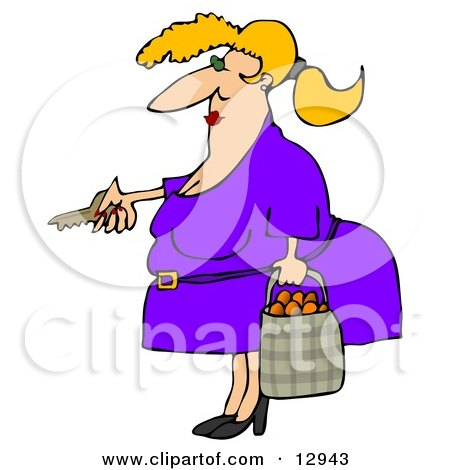 Chubby Woman Unlocking Her Door and Carrying a Bag of Oranges Clipart