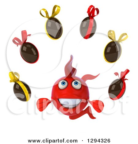 Clipart of a 3d Red Fish Juggling Chocolate Easter Eggs - Royalty Free Illustration by Julos