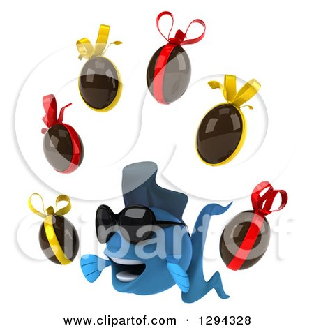 Clipart of a 3d Blue Fish Wearing Sunglasses, Facing Left and Juggling Chocolate Easter Eggs - Royalty Free Illustration by Julos