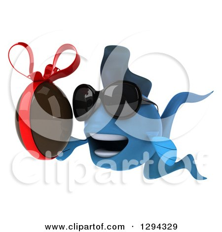 Clipart of a 3d Blue Fish Wearing Sunglasses, Facing Left and Holding a Chocolate Easter Egg - Royalty Free Illustration by Julos