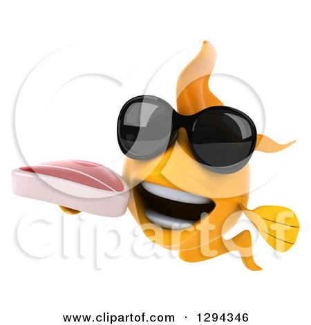 Clipart of a 3d Goldfish Wearing Sunglasses and Holding a Beef Steak - Royalty Free Illustration by Julos