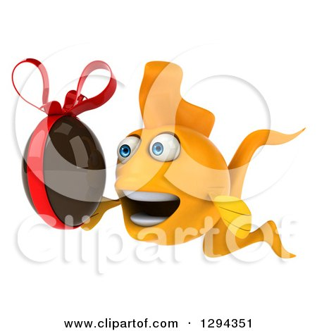 Clipart of a 3d Goldfish Facing Left and Holding a Chocolate Easter Egg - Royalty Free Illustration by Julos