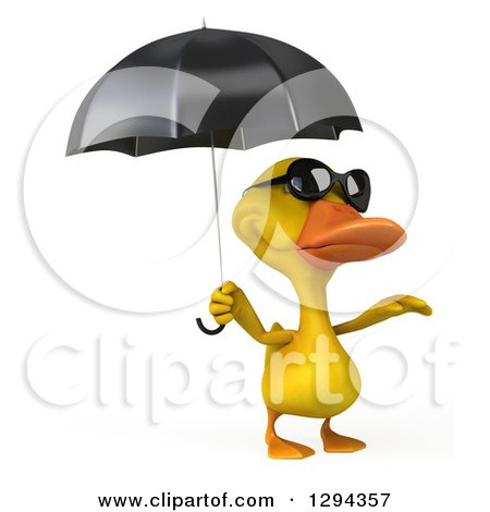 Clipart of a 3d Yellow Duck Wearing Sunglasses and Reacing out from Under an Umbrella - Royalty Free Illustration by Julos