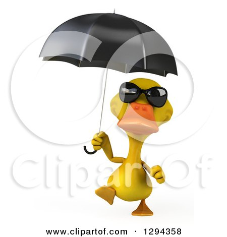 Clipart of a 3d Yellow Duck Wearing Sunglasses and Walking with an Umbrella - Royalty Free Illustration by Julos
