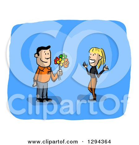 Clipart of a Sketched Romantic White Man Giving a Blond Woman Flowers, over Blue with White Borders - Royalty Free Illustration by Julos