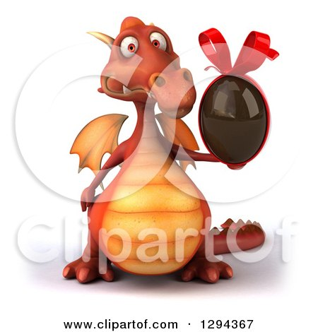 Clipart of a 3d Red Dragon Holding a Chocolate Easter Egg - Royalty Free Illustration by Julos