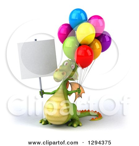 Clipart of a 3d Green Dragon Holding a Blank Sign and Party Balloons - Royalty Free Illustration by Julos
